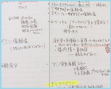 ノート(左:働き/右:成分とポイント)